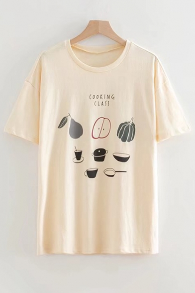 Tee COOKING Fruit Neck Printed Round Letter CLASS Sleeve Short Leisure zwqzg4Px