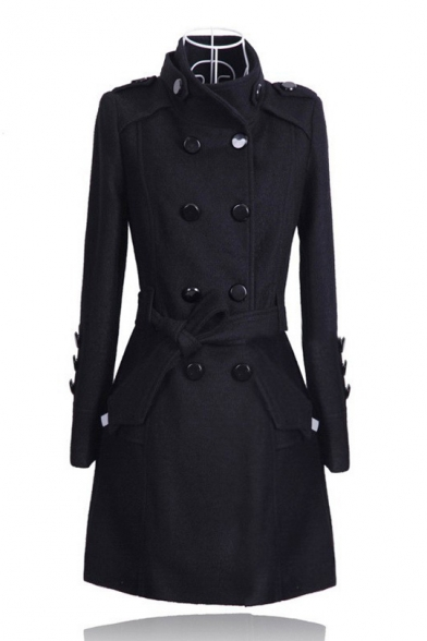 Double Breasted Stand Up Collar Long Sleeve Plain Tunic Woolen Coat