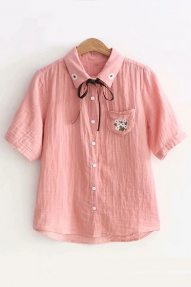 Embroidered Floral Pattern Short Sleeve Bow Tie Neck Shirt