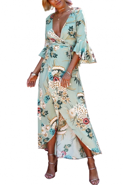 Holiday Floral Printed V Neck 3/4 Length Sleeve Split Front Maxi Asymmetric Dress