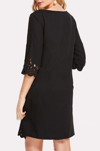 Hollow Out Round Neck Half Sleeve Midi A-Line Dress