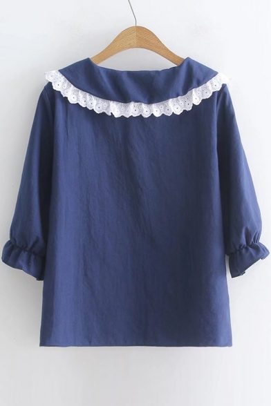 Ruffle Collar 3 Sleeve Blouse Doll Length 4 Detail Insert Lace w4tx6Ow