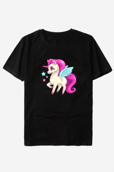 Neck Printed Cute Unisex Unicorn Sleeve Short Cartoon Tee Round Leisure qXt6awH6