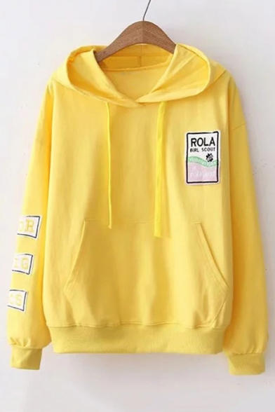 Loose Sleeve Hoodie Long Embroidered Applique Letter Graphic qwUSPSg