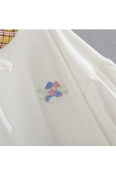 Tee Plaid Floral Sleeve Short Mushroom Pattern Embroidered ZTfzq