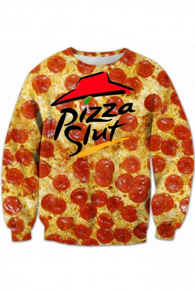 Letter Neck PIZZA Round Printed SLUT Sweatshirt Long Sleeve IwI5Cqrx7