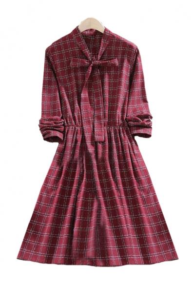 Plaid Printed V Neck Long Sleeve Elastic Waist Midi A-Line Dress