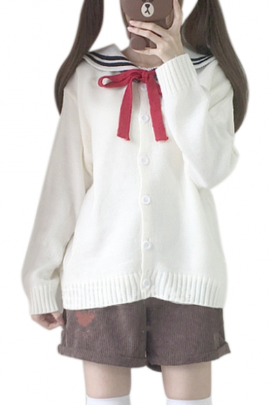 Купить со скидкой Preppy Stylish Navy Collar Bow Tie Front Long Sleeve Cardigan