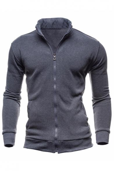 Stand Up Collar Long Sleeve Zip Up Plain Slim Coat