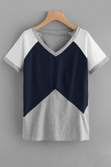 Tee Block Sleeve Comfort Neck Short Color V 46YqASx