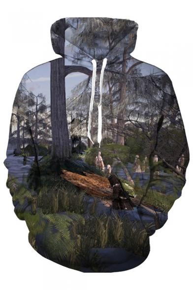 3D Forest Landscape Printed Long Sleeve Loose Unisex Hoodie