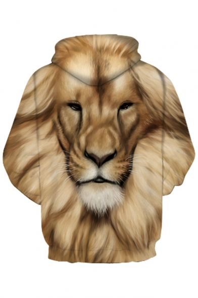 3D Lion's Head Printed Long Sleeve Hoodie for Couple
