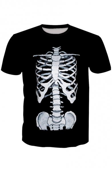 3D Skeleton Printed Round Neck Short Sleeve Tee