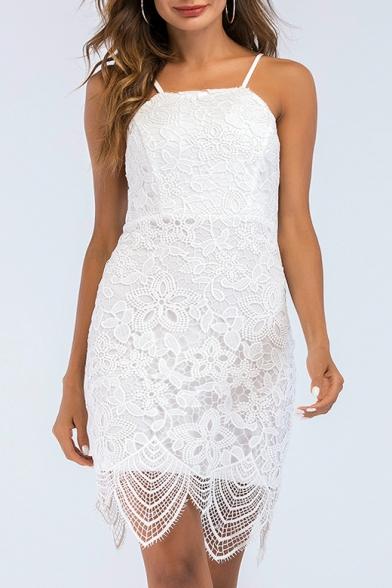 Backless Spaghetti Straps Sleeveless Mini Asymmetric Lace Dress