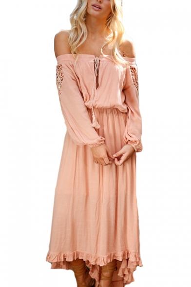 Bohemia Style Off The Shoulder Long Sleeve Lace Insert Maxi Asymmetric Dress