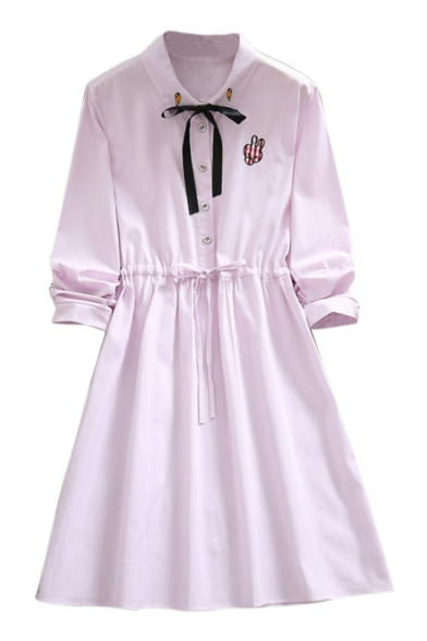 Button Down Lapel Collar Rabbit Embroidered Striped Printed Long Sleeve Midi A-Line Dress