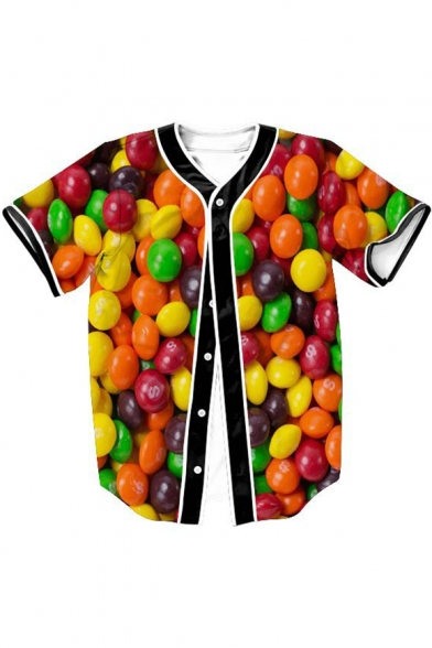 Tee Down Sleeve Candy Baseball Short V Button Neck Printed avpWC8