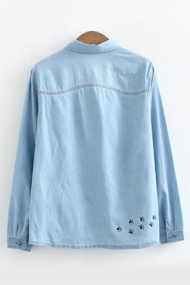 Cat Embroidered Lapel Collar Button Down Long Sleeve Denim Shirt