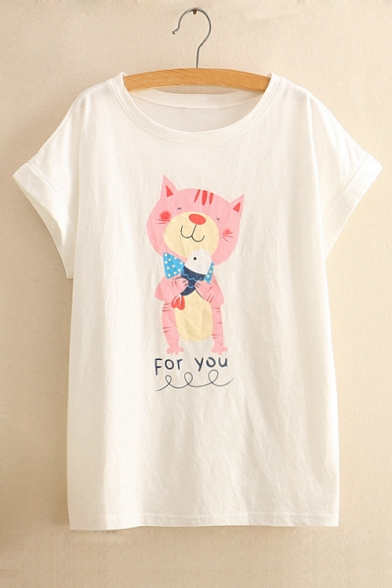 Printed Tee Round FOR YOU Cat Short Sleeve Letter Neck aqw7Fztf