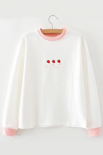 Japanese Strawberry Block Color Embroidered Neck Round Long Tee Sleeve qvZSEw5