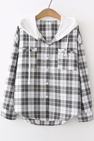 Plaid Hood Down Long Blouse Contrast Hooded Button Printed Sleeve a5xqnfdg