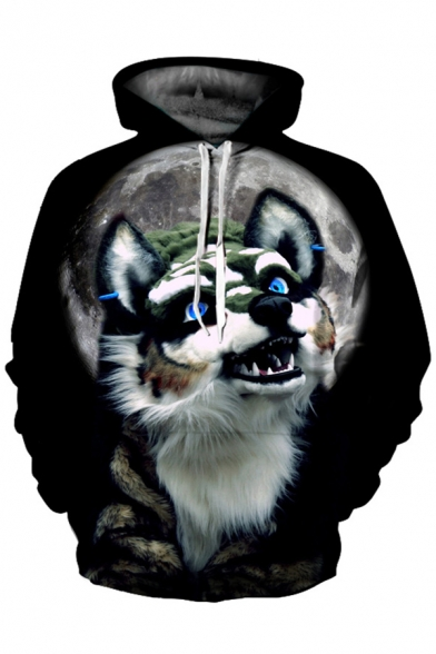 Wolf Cute Printed Hoodie Loose Sleeve Moon Digital Long 165wUqTx