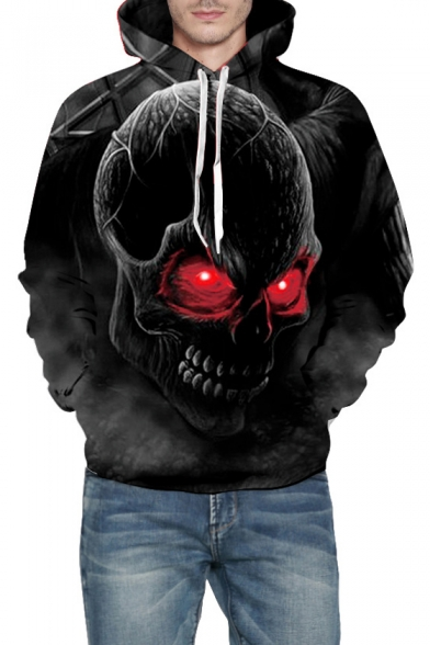 Sleeve Long Digital for Printed Fashionable Couple Skull Hoodie xBU4tSw