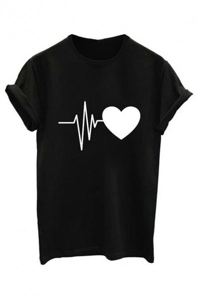 Tee Sleeve Round Heart Short Neck Printed ECG xYFTzwqaW