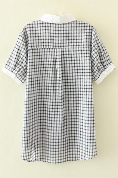 Rabbit Contrast Sleeve Shirt Hem Pattern Fashion Plaid Short Embroidered wECqCTU