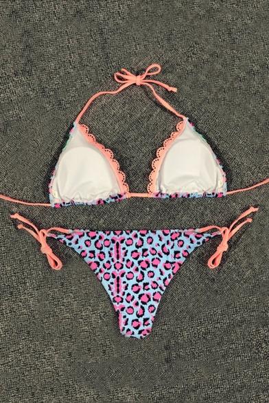 fb0a3df33e Floral Leopard Printed Halter Sleeveless Sexy Bikini - Beautifulhalo.com