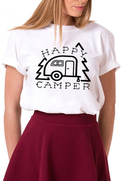 HAPPY CAMPER Neck Tee Printed Letter Car Sleeve Short Round UPrqxUfw
