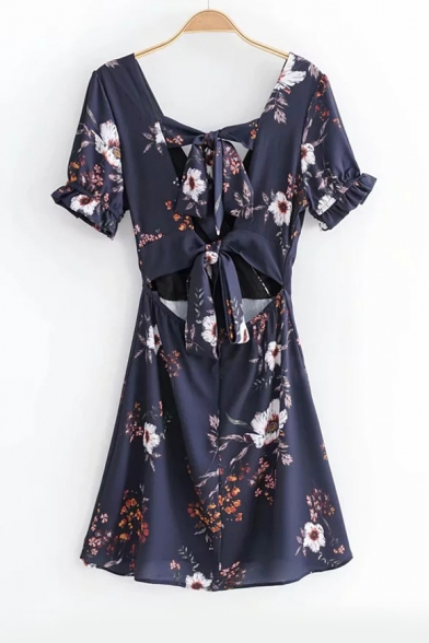 Hollow Out Back Floral Printed V Neck Short Sleeve Mini A-Line Dress