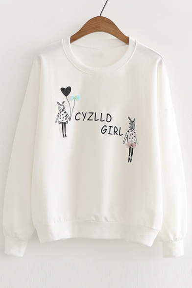 Neck Letter Bow Embroidered Sweatshirt Long Girl Round Sleeve Printed Embellished HYcHT1