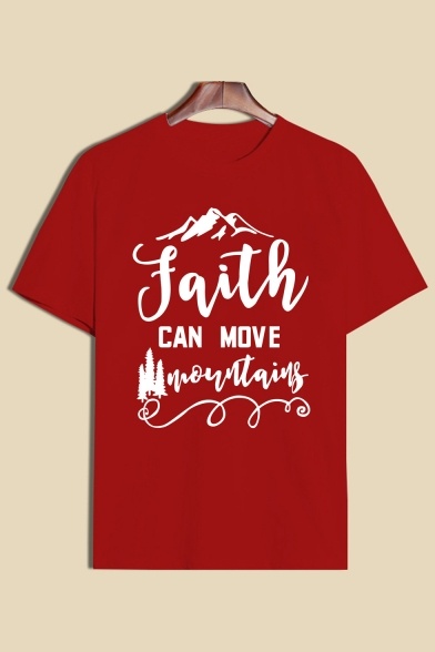 Short Letter FAITH Printed Sleeve Tee Round Mountain Neck AXZwW