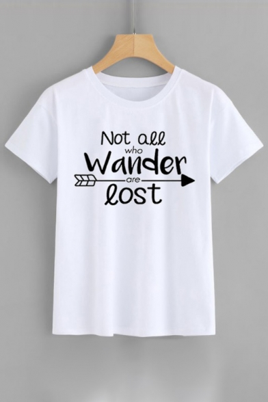 Neck Round LOST WANDER NOT ALL WHO ARE Sleeve Tee Short Printed Letter yII80q