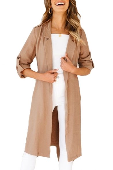 Notched Lapel Collar Plain Long Sleeve Open Front Tunic Coat, LC479282, Black;burgundy;green;khaki