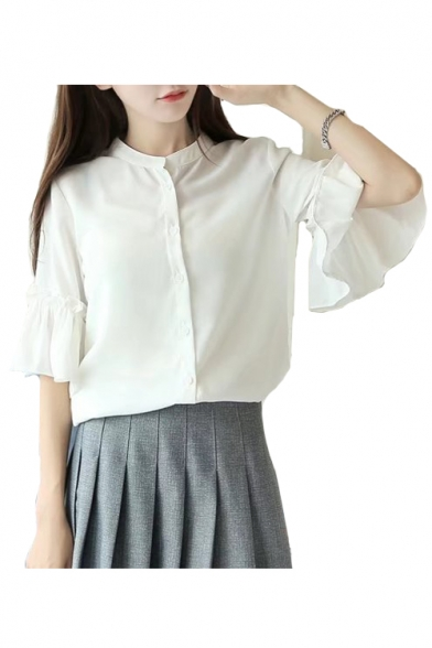 Down Plain Blouse Stand Half Sleeve Collar Up Chiffon Button w661qXHR