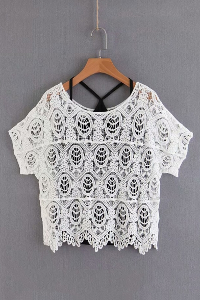 Two Pieces Hollow Out Round Neck Short Sleeve Plain Lace Blouse with Cami