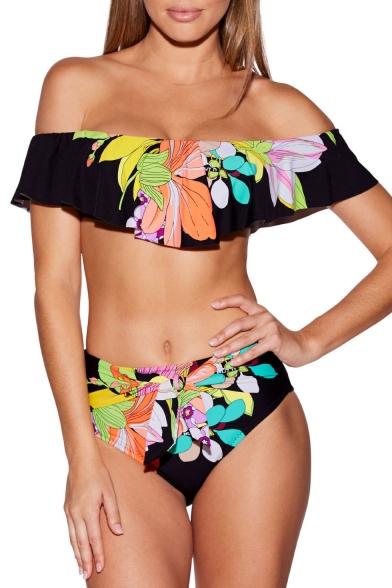 Unique Floral Printed Off The Shoulder Short Sleeve Bikini