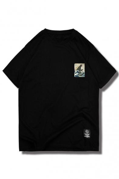 Short Dinosaur Neck Printed Tee Round Wave Sleeve qtwxU