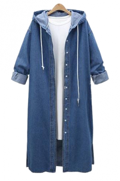Button Down Long Sleeve Plain Tunic Denim Hooded Coat