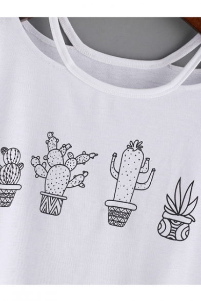 Out Round Letter Sleeve PLANT Tee MON Crop Half Cactus Neck Printed Hollow wZqXwA7