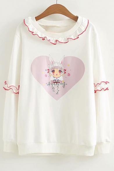 Printed Cartoon Long Round Neck Girl Sleeve Sweatshirt Leisure Heart rqwXrtWE