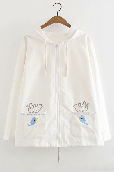 Cat Fish Embroidered Pocket Zip Up Long Sleeve Hooded Coat