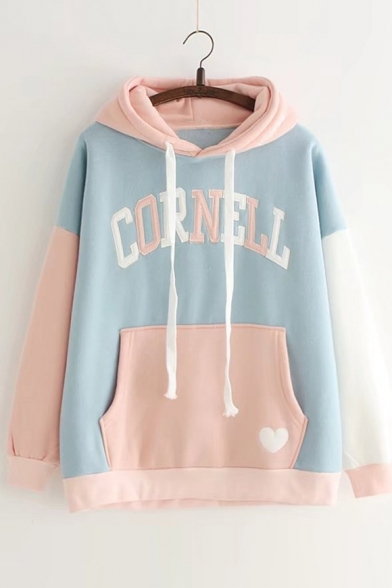 CORNELL Hoodie Embroidered Letter Sleeve Block Long Color Leisure O5Bqpn