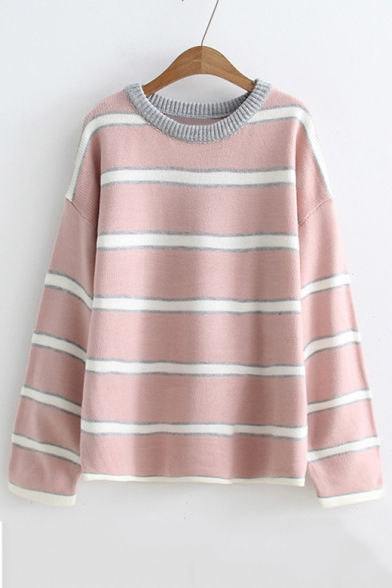 Striped Long Sleeve Knit Neck Color Sweater Round Loose Printed Block 54YZYXqA