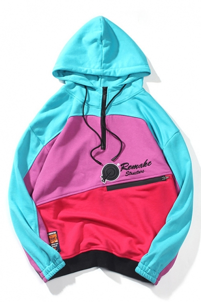Letter Hoodie Sleeve Long Zipper Block Leisure Embroidered Color Front Aw6qOHxSwP