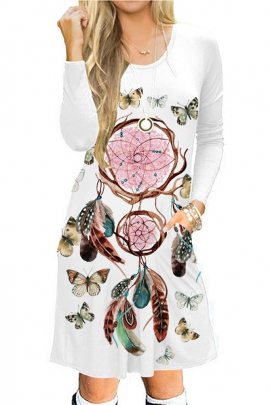 Dreamcather Butterfly Printed Round Neck Long Sleeve Midi A-Line Dress