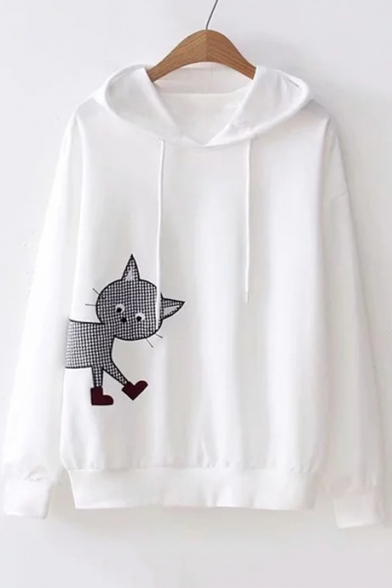 Fall Embroidered Loose Sleeve Leisure Long Cat Hoodie Collection rqUOxBZwr