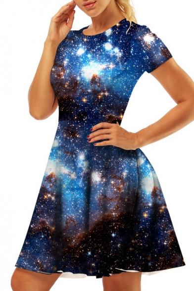 Galaxy Printed Round Neck Short Sleeve Slim Mini A-Line Dress